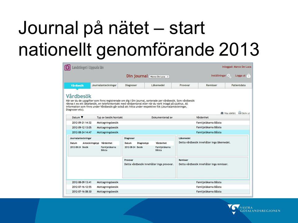 Journal på nätet – start nationellt genomförande 2013