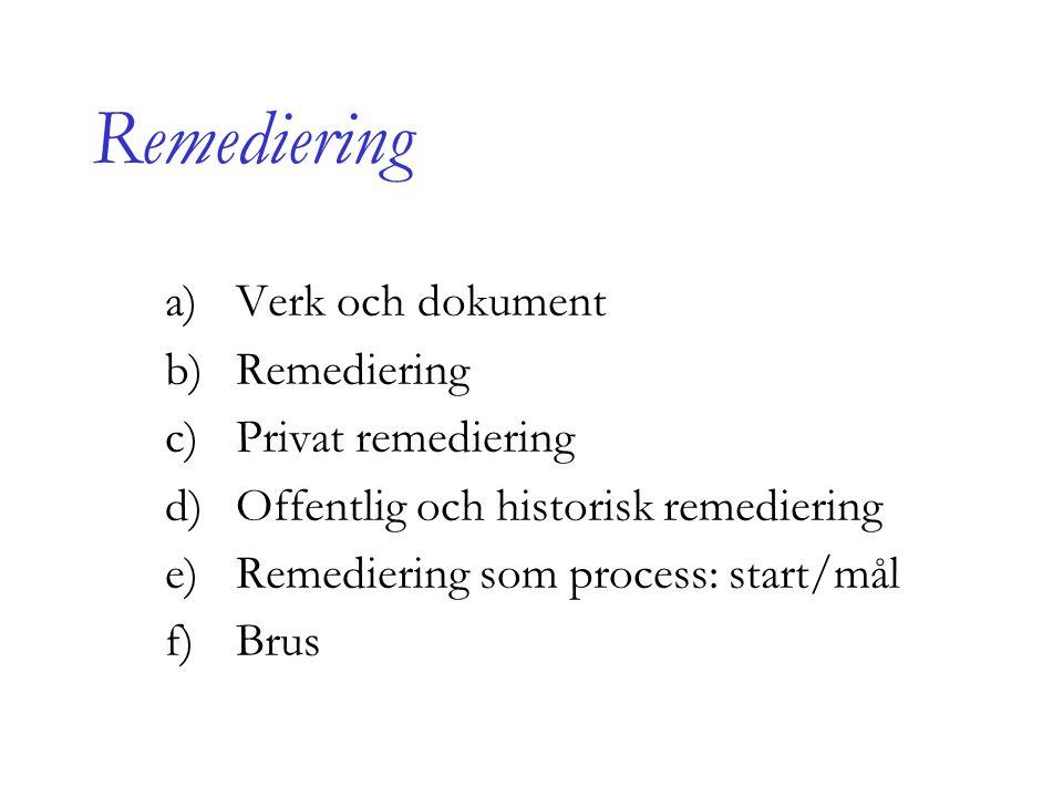 Remediering Verk och dokument Remediering Privat remediering