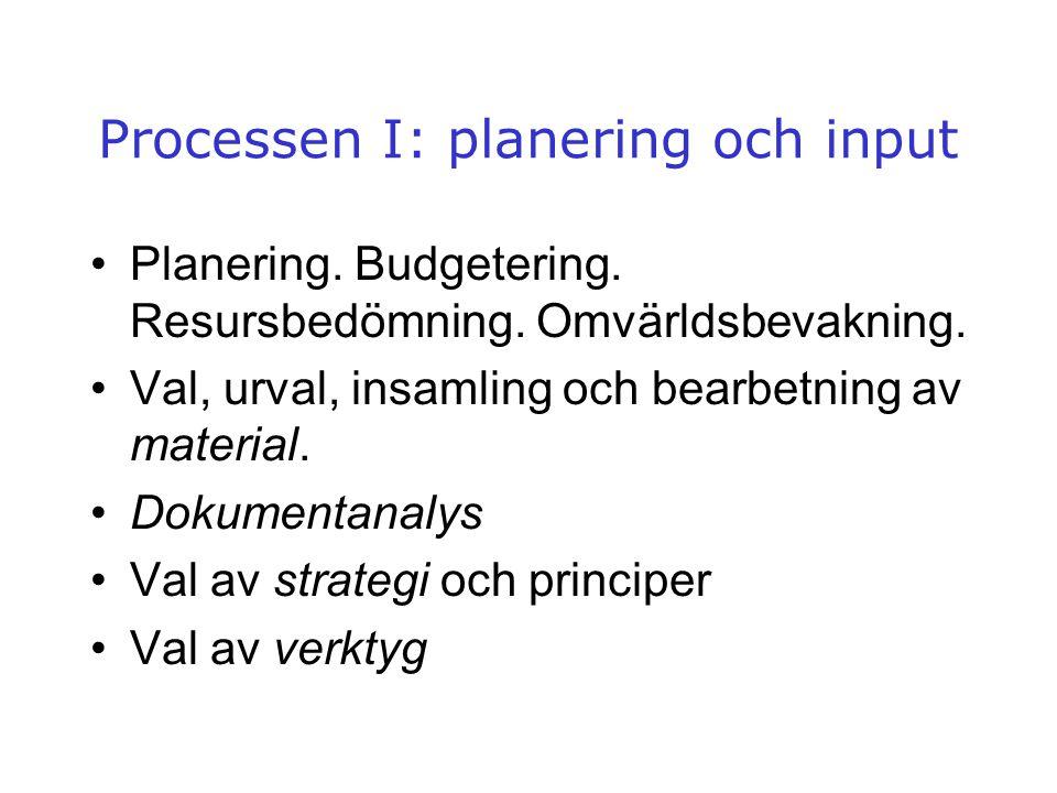 Processen I: planering och input