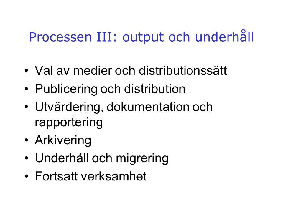 Processen III: output och underhåll