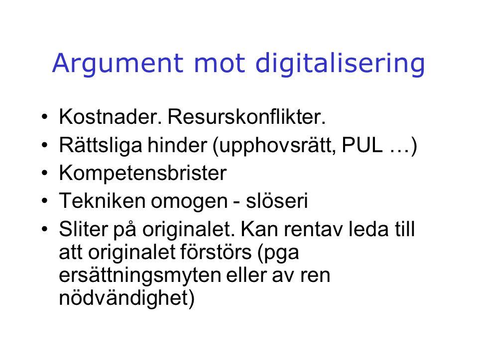 Argument mot digitalisering