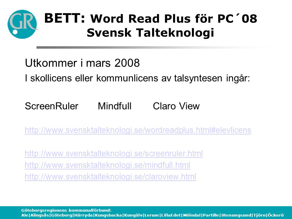 BETT: Word Read Plus för PC´08 Svensk Talteknologi