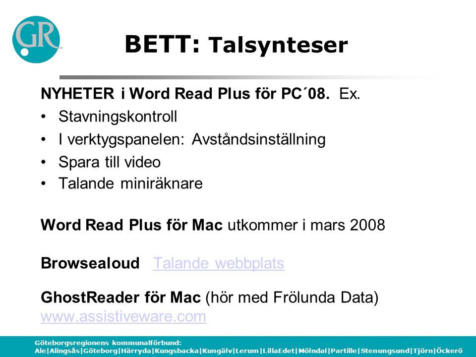 BETT: Talsynteser NYHETER i Word Read Plus för PC´08. Ex.