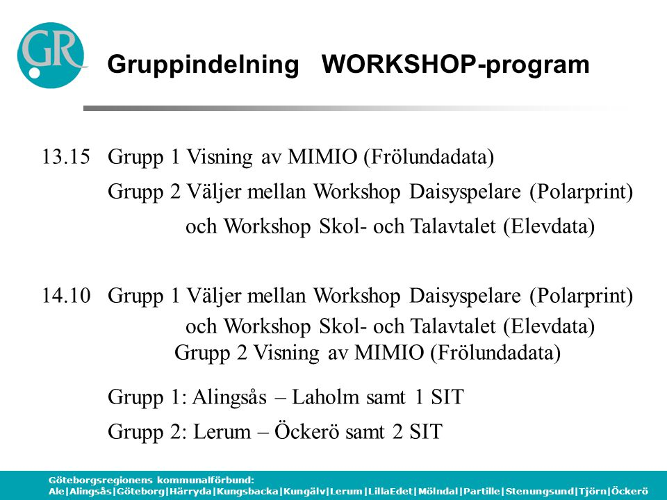 Gruppindelning WORKSHOP-program