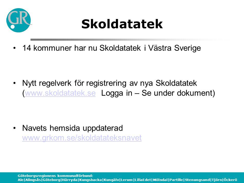 Skoldatatek 14 kommuner har nu Skoldatatek i Västra Sverige