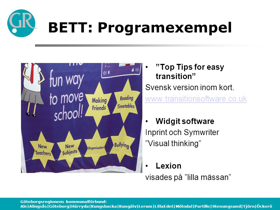 BETT: Programexempel Top Tips for easy transition