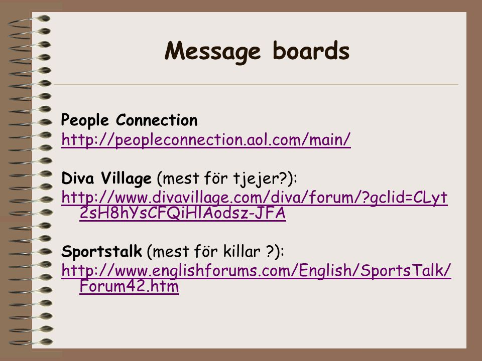 Message boards People Connection http://peopleconnection.aol.com/main/