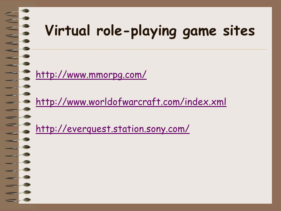 Virtual role-playing game sites