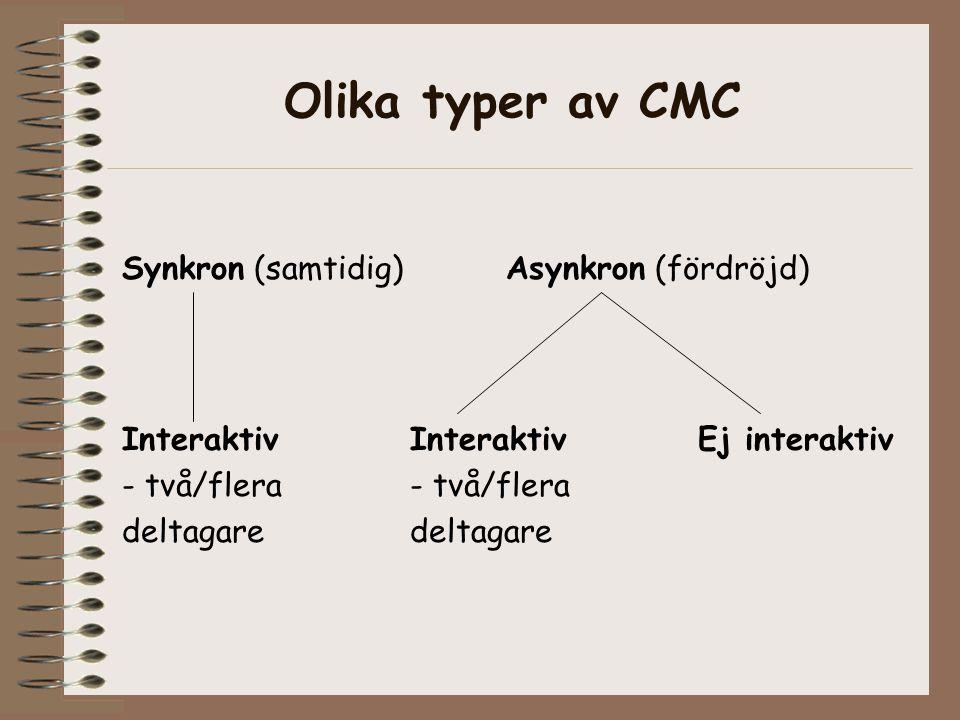 Olika typer av CMC Synkron (samtidig) Asynkron (fördröjd)