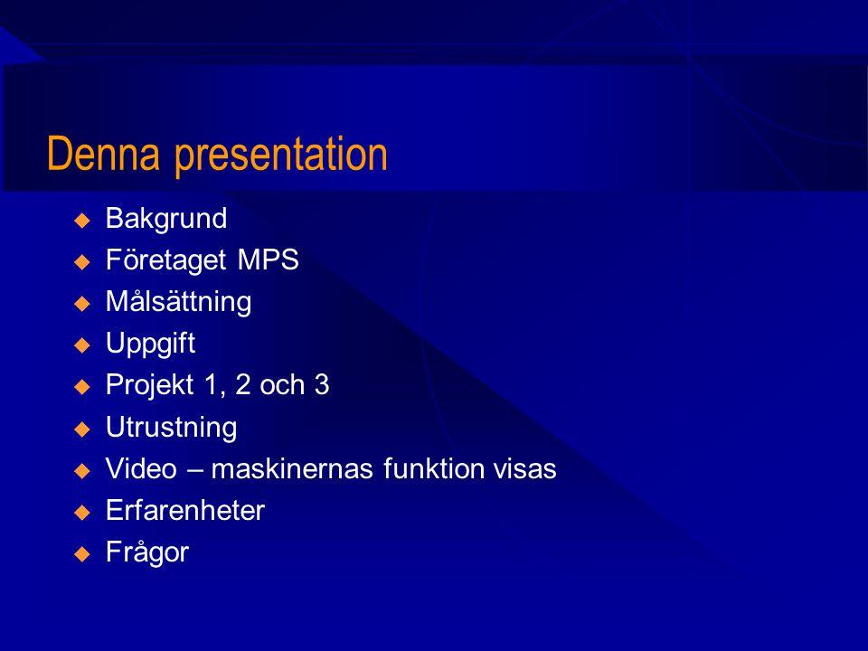 Denna presentation Bakgrund Företaget MPS Målsättning Uppgift