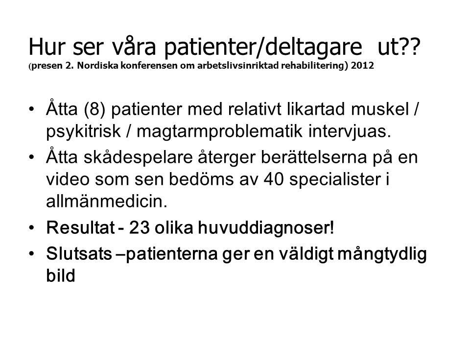 Hur ser våra patienter/deltagare ut. (presen 2
