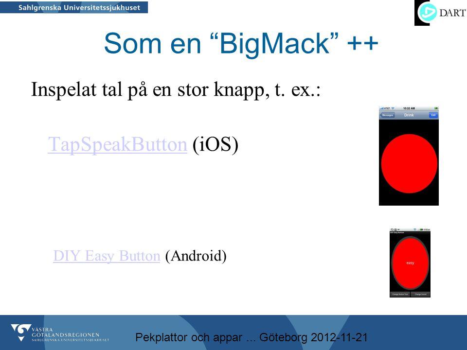 Som en BigMack ++ Inspelat tal på en stor knapp, t. ex.: