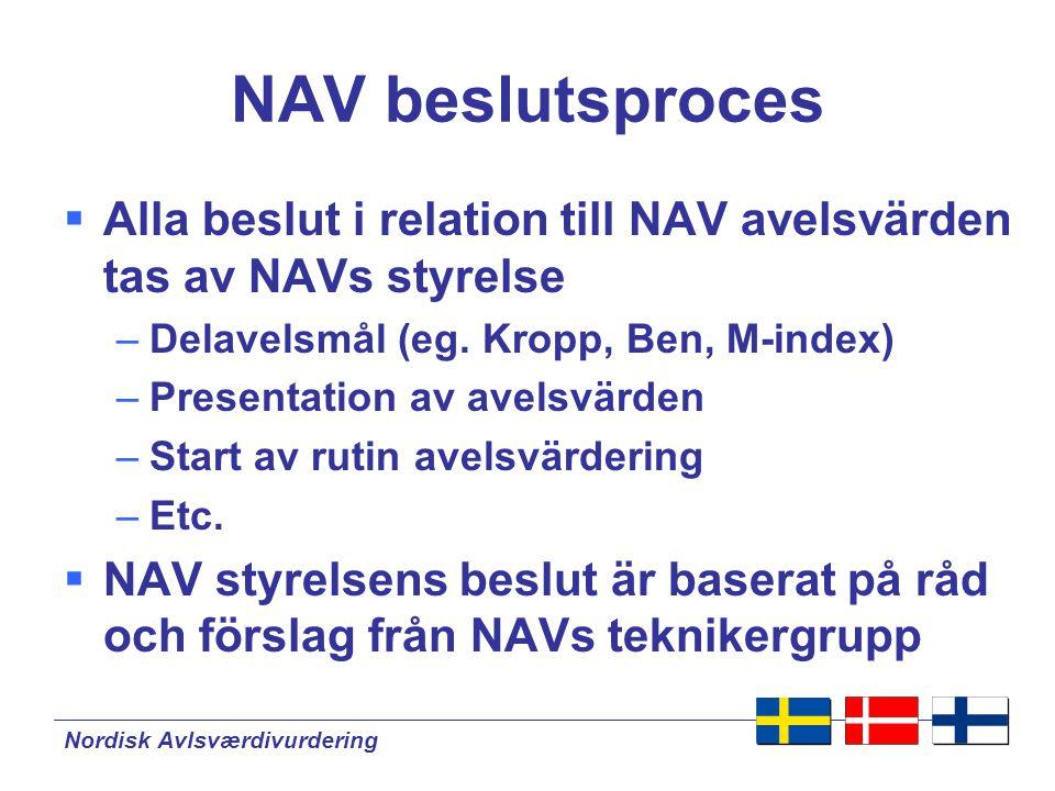 NAV beslutsproces Alla beslut i relation till NAV avelsvärden tas av NAVs styrelse. Delavelsmål (eg. Kropp, Ben, M-index)