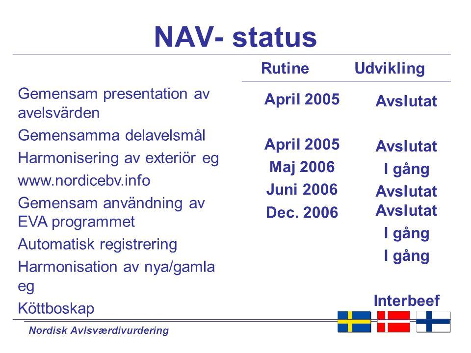 NAV- status Rutine Udvikling Gemensam presentation av avelsvärden