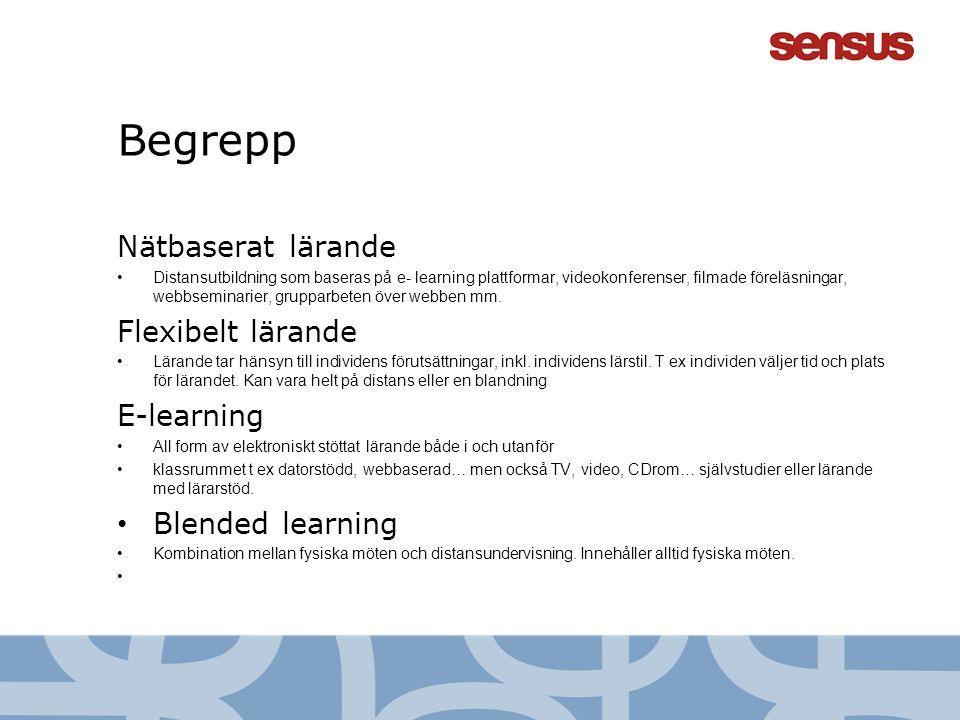Begrepp Nätbaserat lärande Flexibelt lärande E-learning