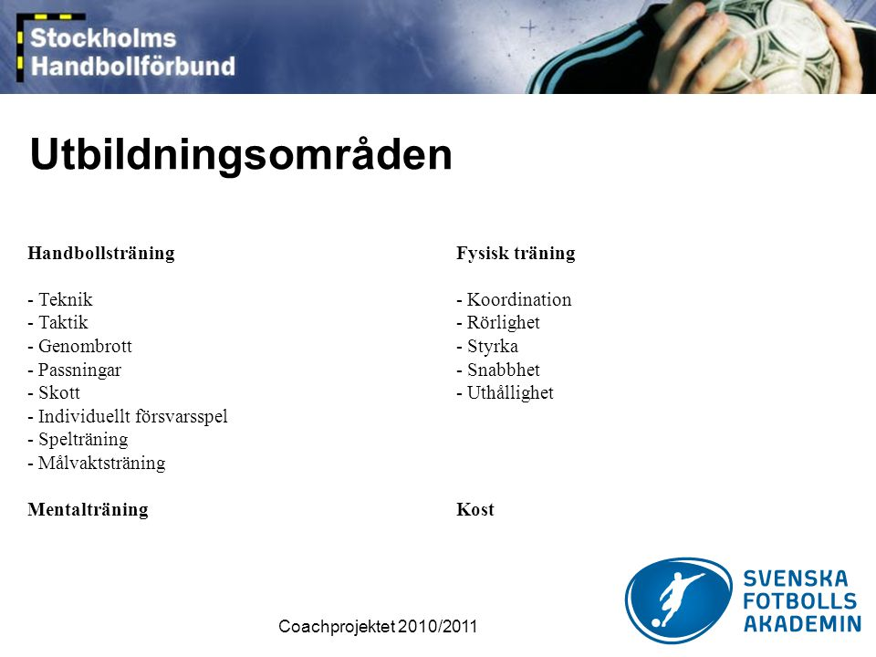 Utbildningsområden Handbollsträning - Teknik - Taktik - Genombrott