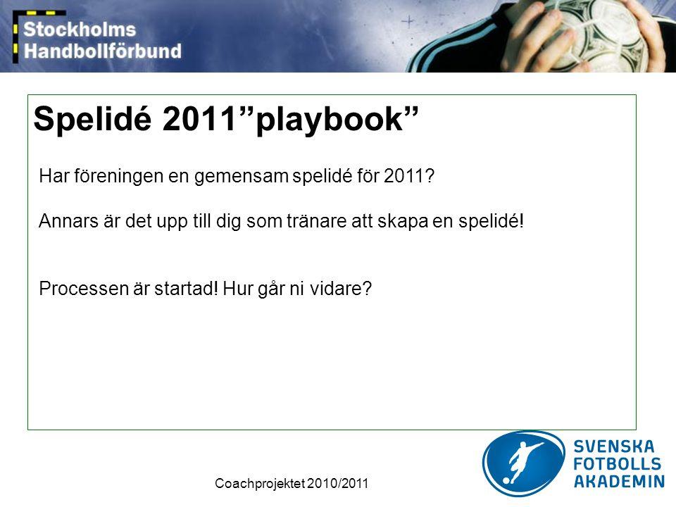 Spelidé 2011 playbook Har föreningen en gemensam spelidé för 2011