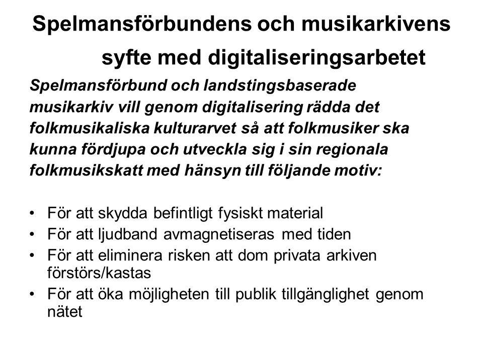 Spelmansförbundens och musikarkivens syfte med digitaliseringsarbetet