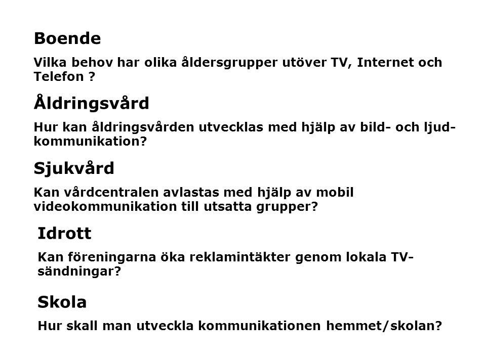 Boende Åldringsvård Sjukvård Idrott Skola