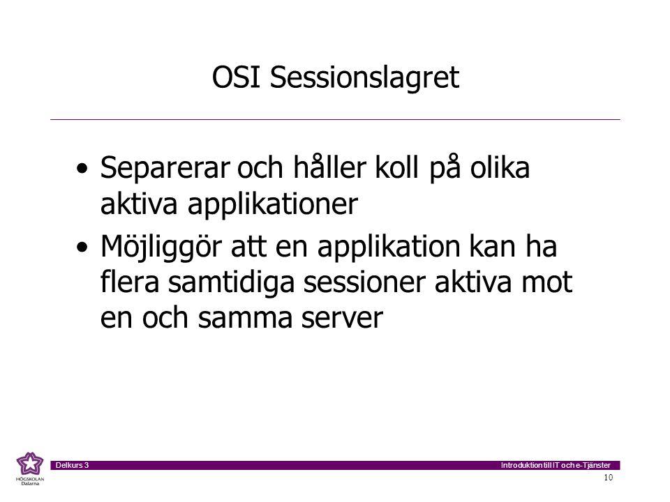 OSI Sessionslagret Separerar och håller koll på olika aktiva applikationer.