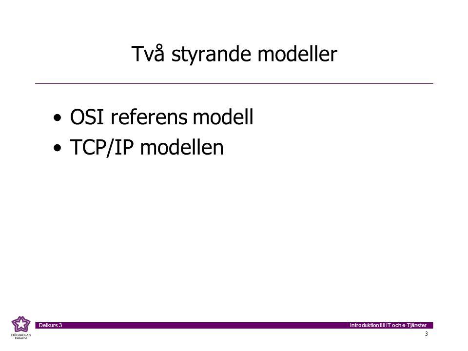 Två styrande modeller OSI referens modell TCP/IP modellen