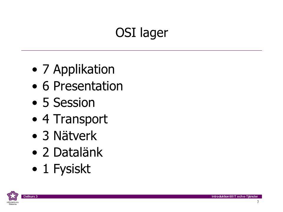 OSI lager 7 Applikation 6 Presentation 5 Session 4 Transport 3 Nätverk 2 Datalänk 1 Fysiskt