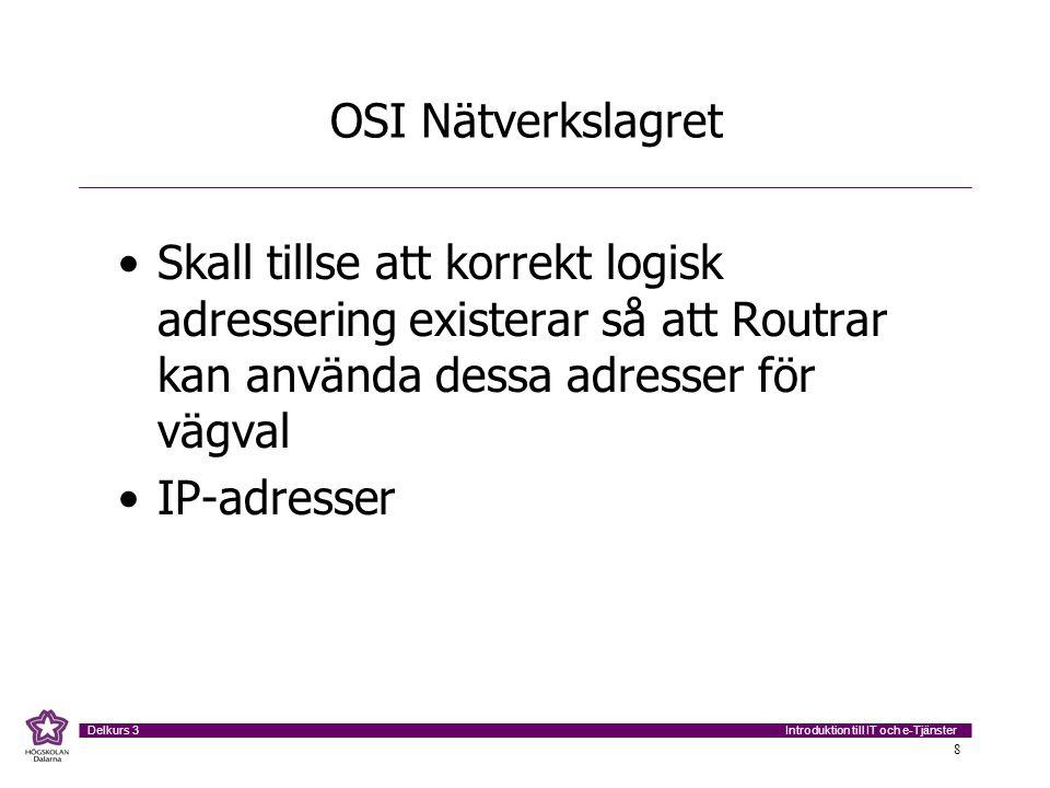 OSI Nätverkslagret Skall tillse att korrekt logisk adressering existerar så att Routrar kan använda dessa adresser för vägval.