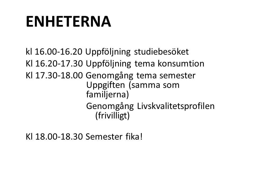 ENHETERNA kl 16.00-16.20 Uppföljning studiebesöket
