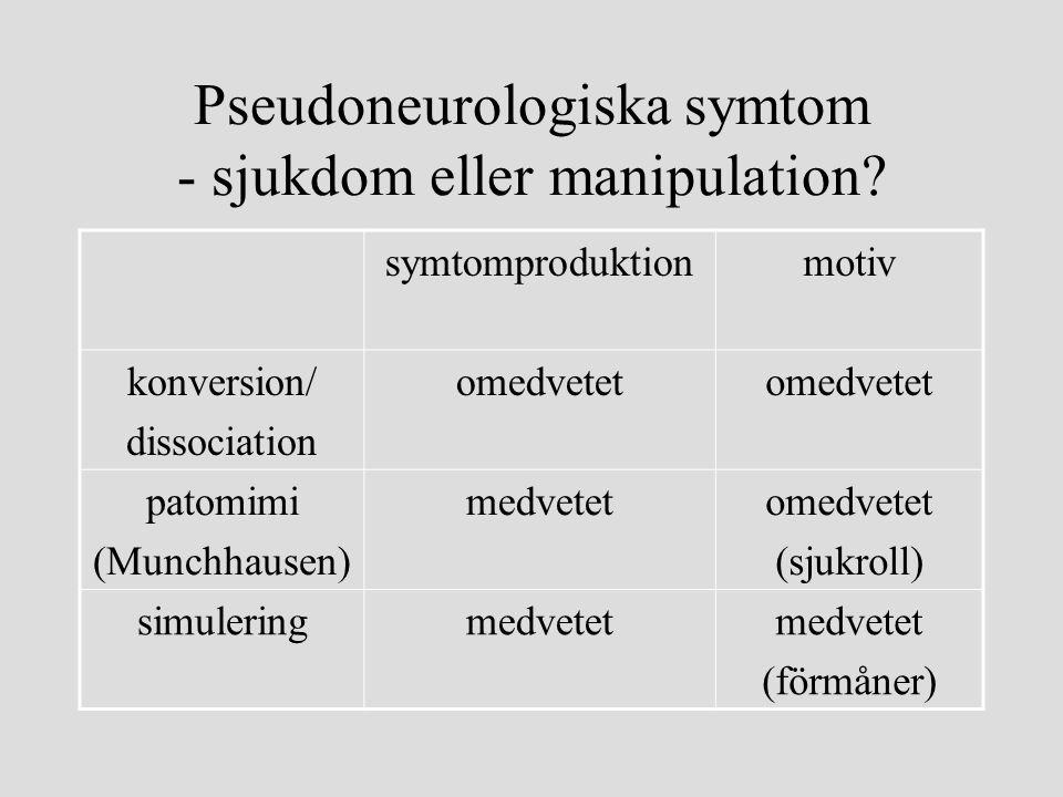 Pseudoneurologiska symtom - sjukdom eller manipulation
