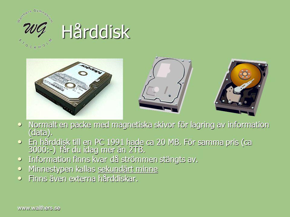 www.walthers.se Hårddisk. Normalt en packe med magnetiska skivor för lagring av information (data).