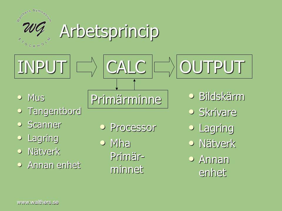 Arbetsprincip INPUT CALC OUTPUT Primärminne Bildskärm Skrivare Lagring