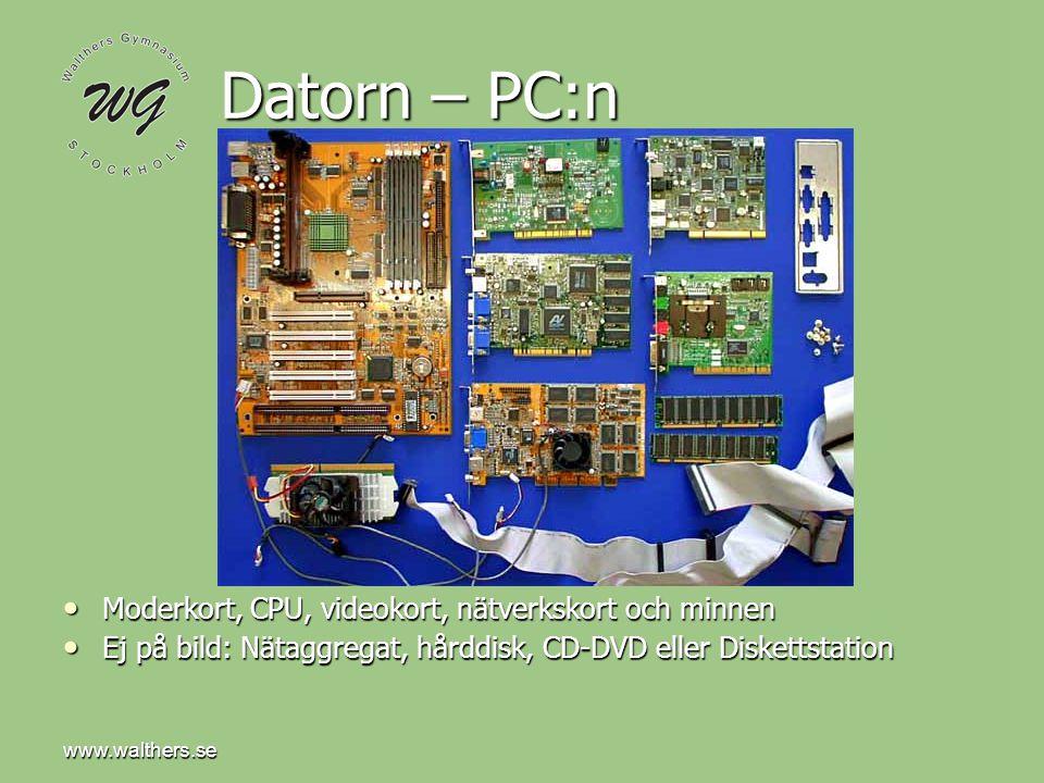 Datorn – PC:n Moderkort, CPU, videokort, nätverkskort och minnen