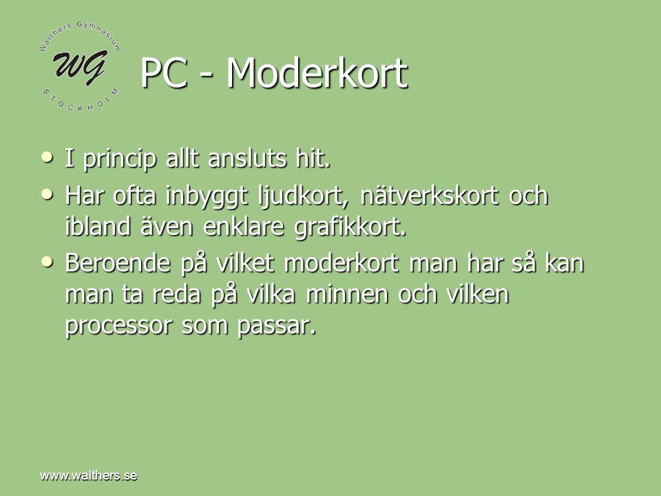 PC - Moderkort I princip allt ansluts hit.