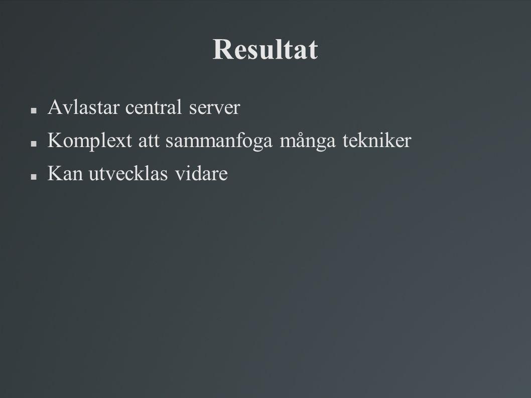 Resultat Avlastar central server