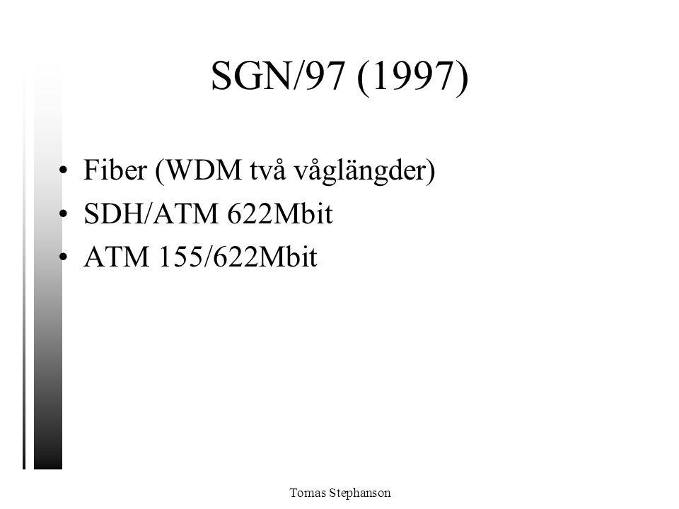SGN/97 (1997) Fiber (WDM två våglängder) SDH/ATM 622Mbit