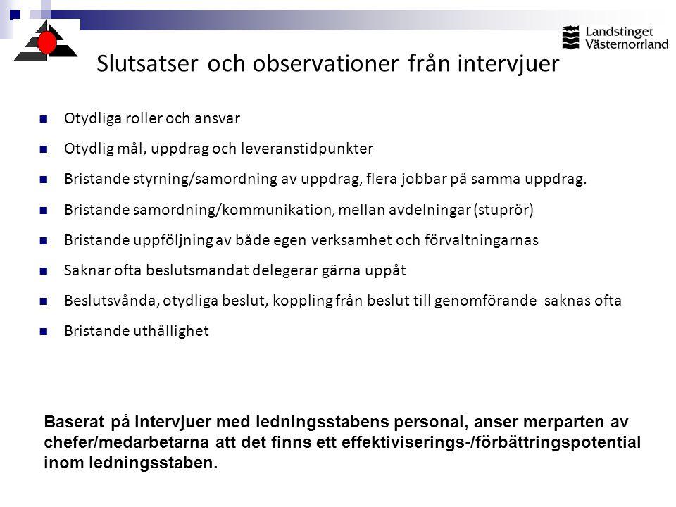 Slutsatser och observationer från intervjuer