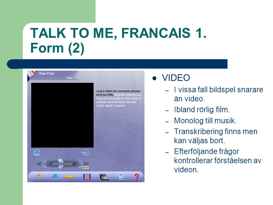 TALK TO ME, FRANCAIS 1. Form (2)