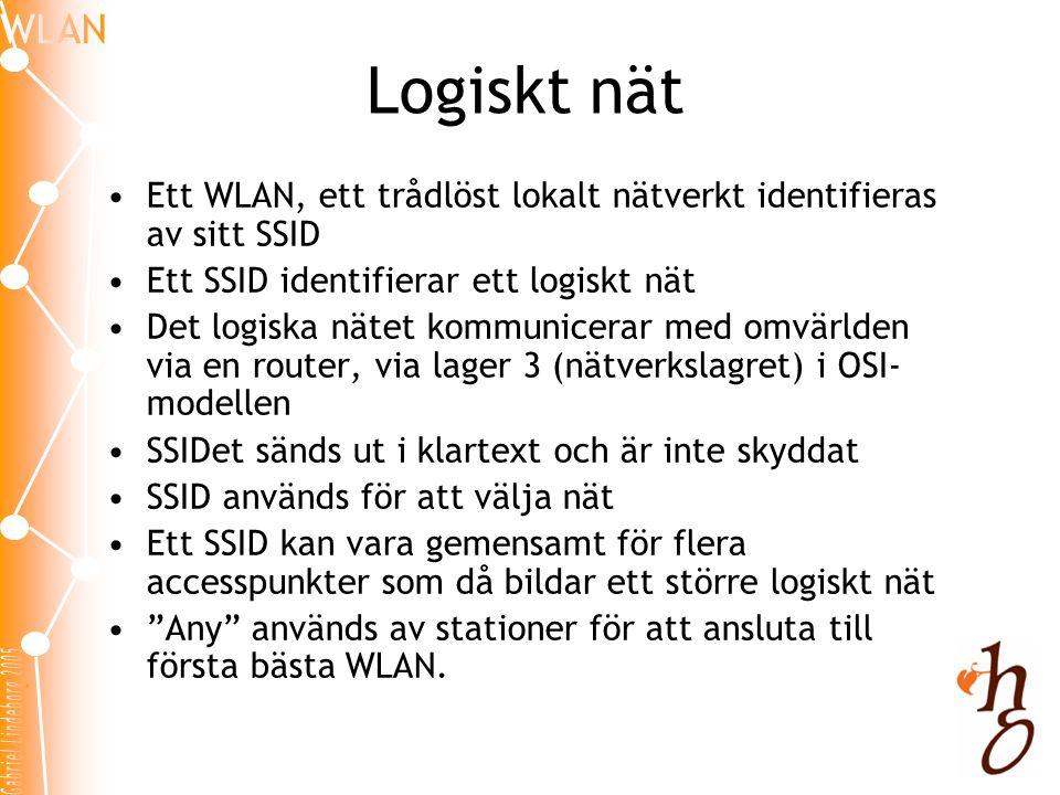 Logiskt nät Ett WLAN, ett trådlöst lokalt nätverkt identifieras av sitt SSID. Ett SSID identifierar ett logiskt nät.