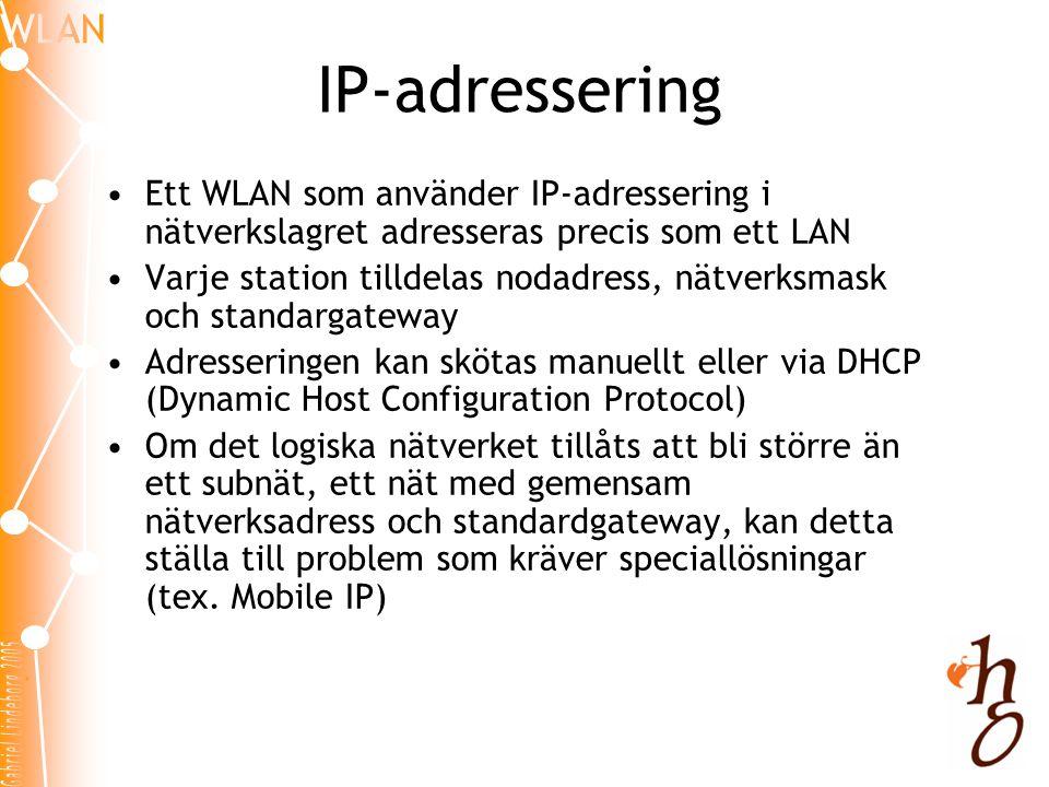 IP-adressering Ett WLAN som använder IP-adressering i nätverkslagret adresseras precis som ett LAN.
