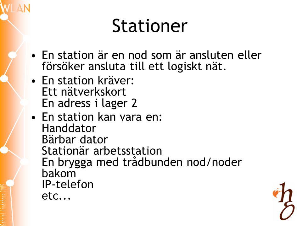 Stationer En station är en nod som är ansluten eller försöker ansluta till ett logiskt nät. En station kräver: Ett nätverkskort En adress i lager 2.