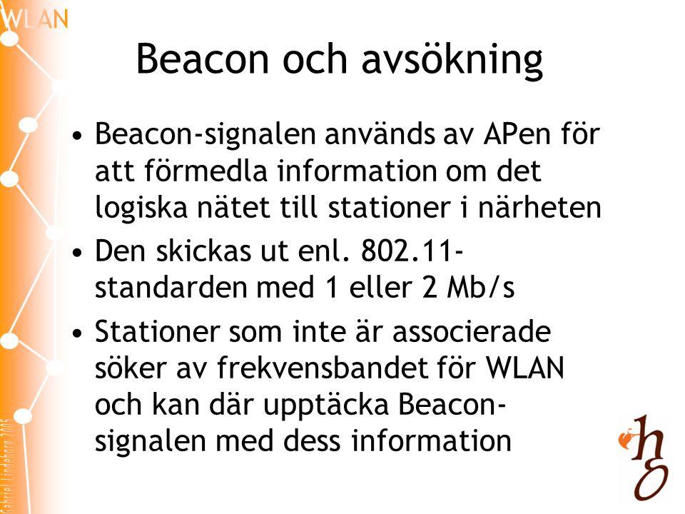 Beacon och avsökning Beacon-signalen används av APen för att förmedla information om det logiska nätet till stationer i närheten.