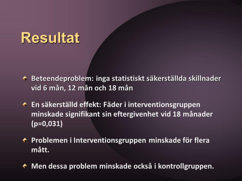 Resultat Beteendeproblem: inga statistiskt säkerställda skillnader vid 6 mån, 12 mån och 18 mån.
