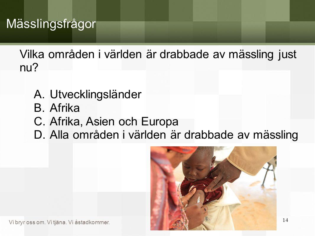 Mässlingsfrågor Vilka områden i världen är drabbade av mässling just nu Utvecklingsländer. Afrika.