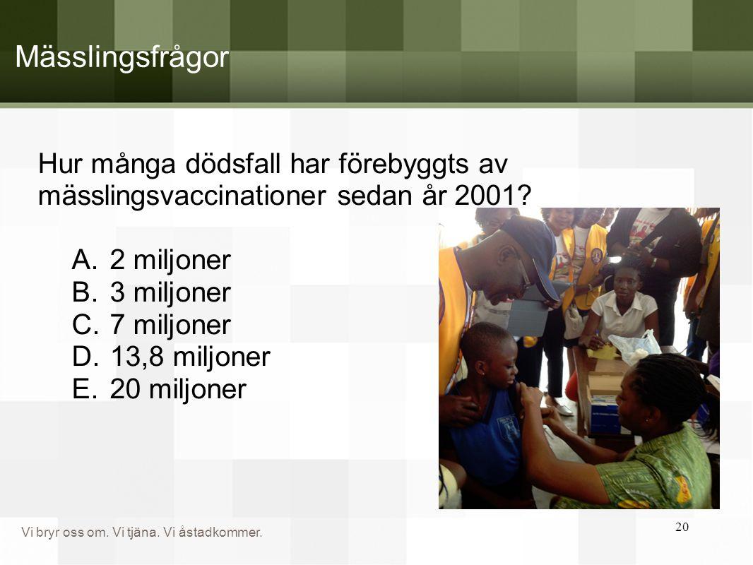 Mässlingsfrågor Hur många dödsfall har förebyggts av mässlingsvaccinationer sedan år 2001 2 miljoner.
