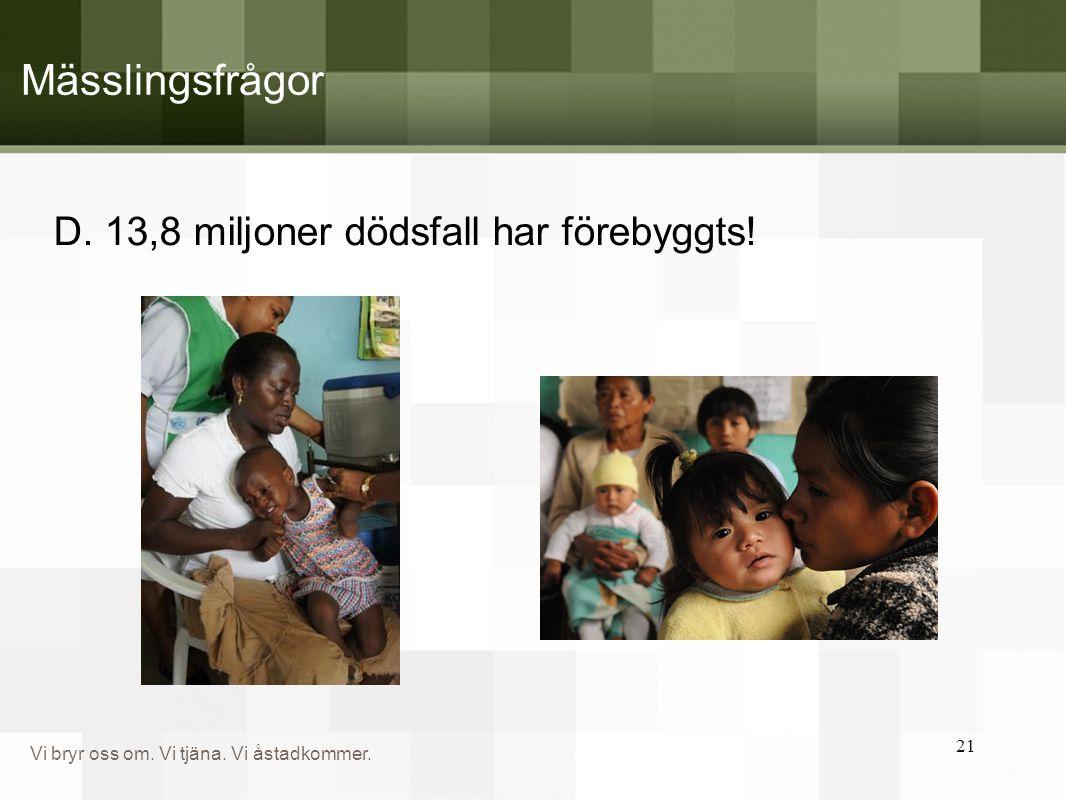 Mässlingsfrågor D. 13,8 miljoner dödsfall har förebyggts!