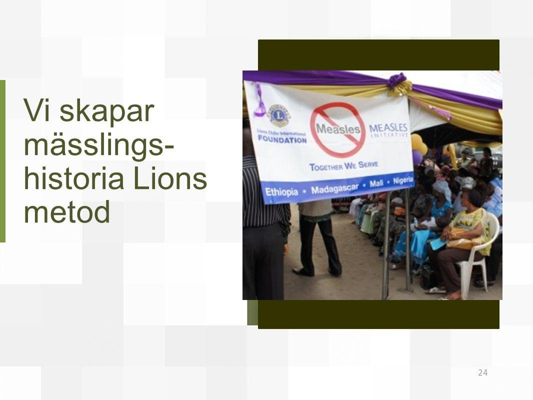 Vi skapar mässlings-historia Lions metod