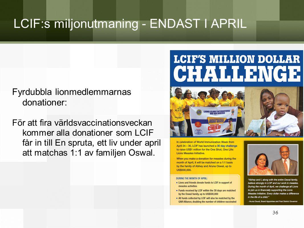 LCIF:s miljonutmaning - ENDAST I APRIL