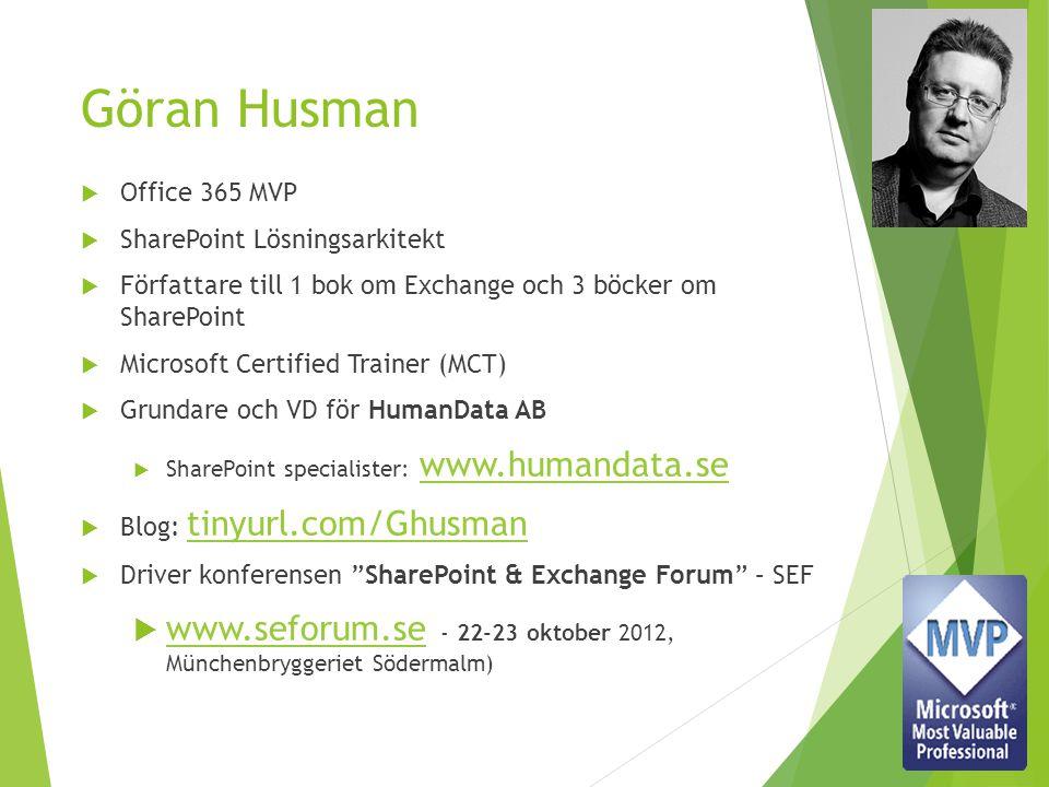 Göran Husman Office 365 MVP. SharePoint Lösningsarkitekt. Författare till 1 bok om Exchange och 3 böcker om SharePoint.