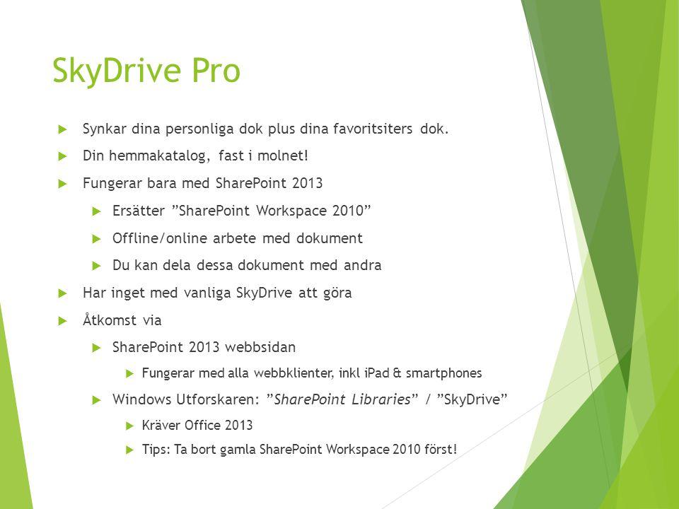SkyDrive Pro Synkar dina personliga dok plus dina favoritsiters dok.