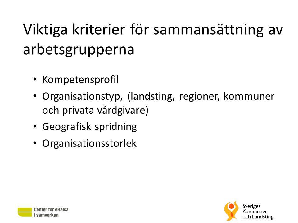 Viktiga kriterier för sammansättning av arbetsgrupperna